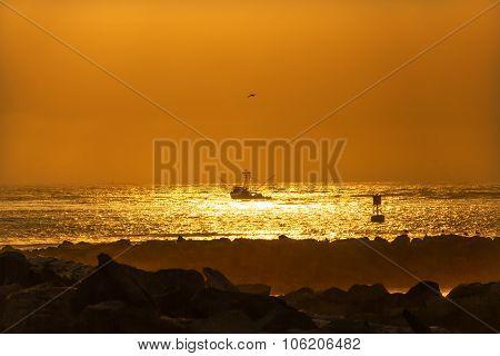 Fishing Boat Leaving Westport Sunset Buoy Grays Harbor Washington State