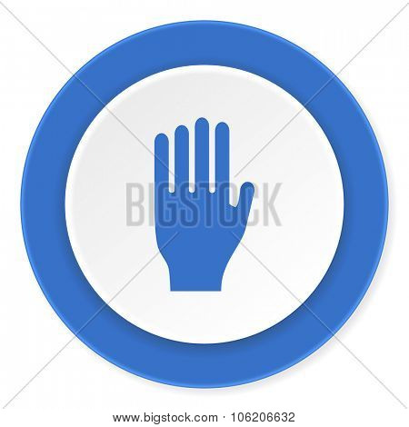 stop blue circle 3d modern design flat icon on white background