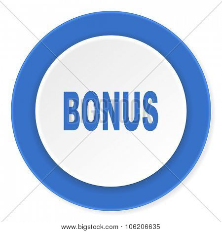 bonus blue circle 3d modern design flat icon on white background