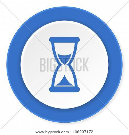 time blue circle 3d modern design flat icon on white background