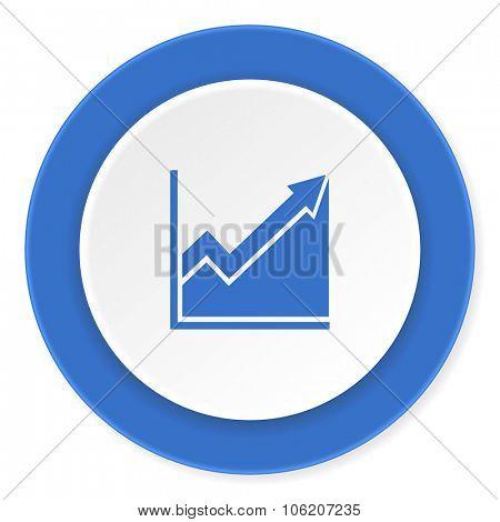 histogram blue circle 3d modern design flat icon on white background