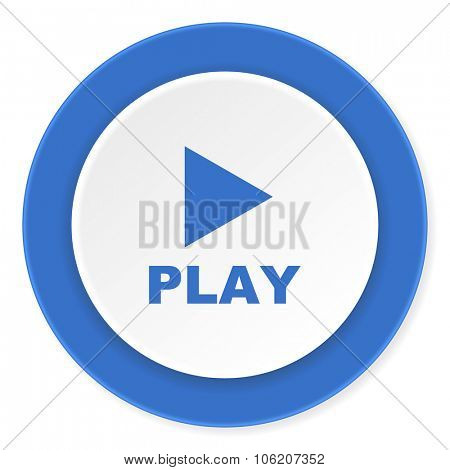 play blue circle 3d modern design flat icon on white background