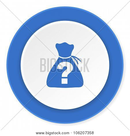 riddle blue circle 3d modern design flat icon on white background