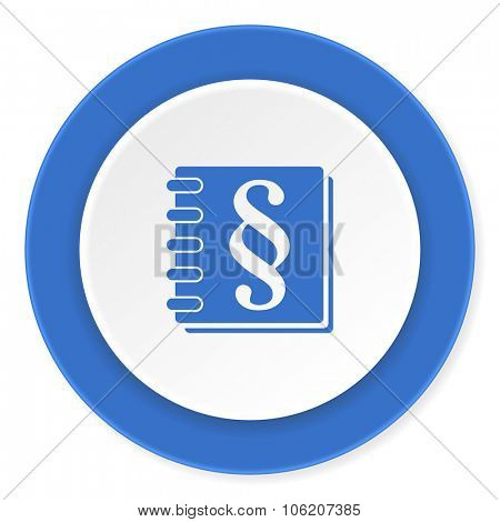 law blue circle 3d modern design flat icon on white background