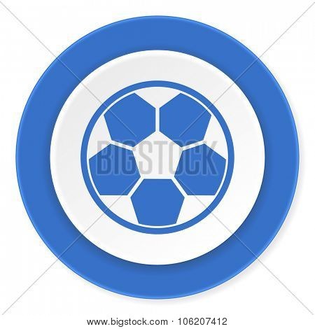 soccer blue circle 3d modern design flat icon on white background