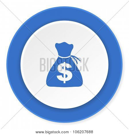 money blue circle 3d modern design flat icon on white background