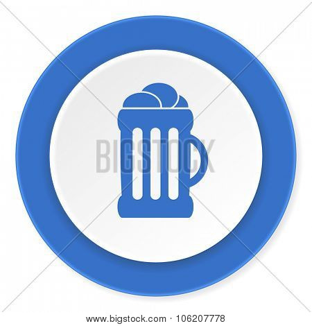 beer blue circle 3d modern design flat icon on white background
