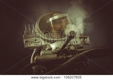 Environmental, spaceman with plasma gun and helmet glass
