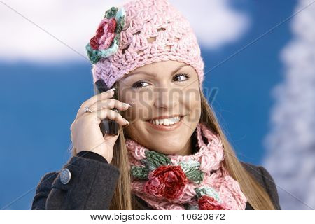Attractive Woman In Winter Clothes With Mobile