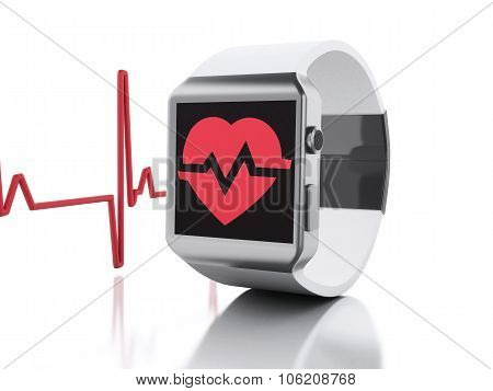 3D Smart Watch With Red Health Icon.
