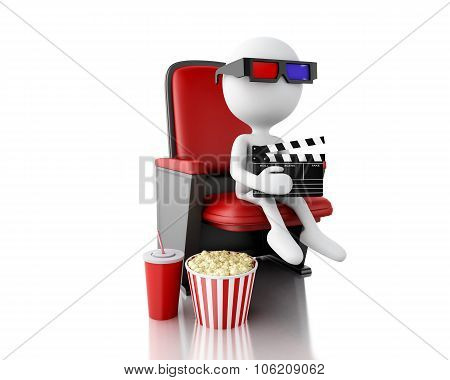 3D White People With Clapper Board And Popcorn On Theater Seat.
