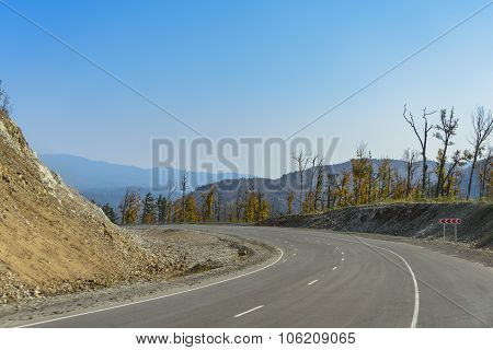 Mountain road on the Far Eastern taiga.