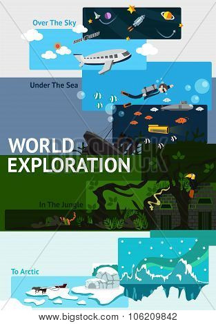 World Exploration Banner Background Badge About Explorer Traveling All Over The World From Space, Sk