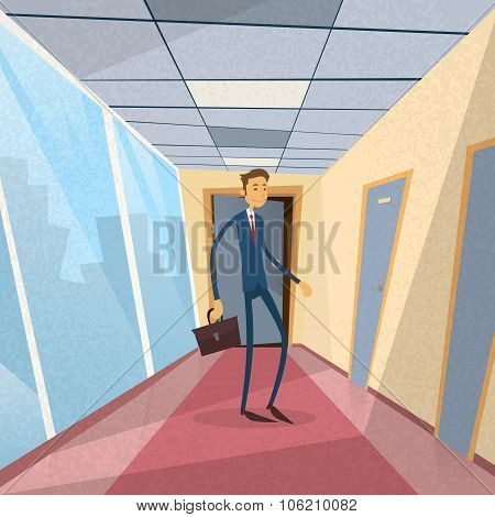 Businessman Standing Near Door Office