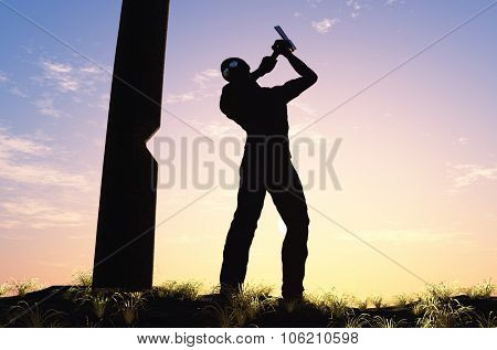Man chopping wood in the forest.