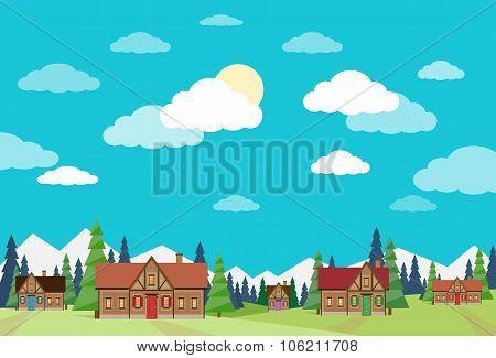 Village Summer Landscape Houses Green Grass Blue Sky