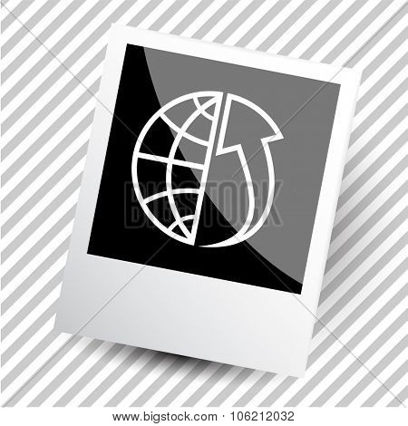 globe and array up. Photoframe. Vector icon.
