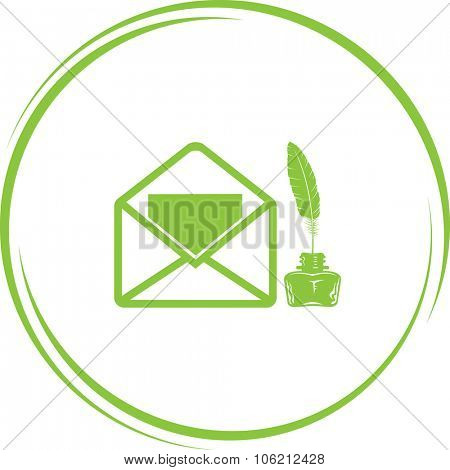 open mail with ink stand. Internet button. Vector icon.