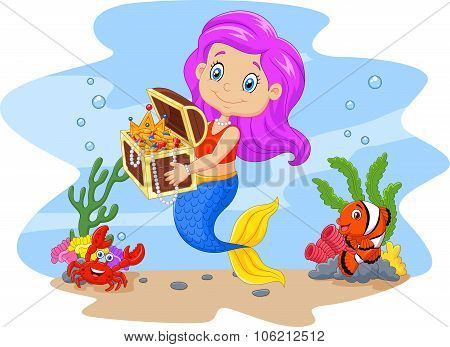 Cartoon funny mermaid holding treasure chest with underwater background