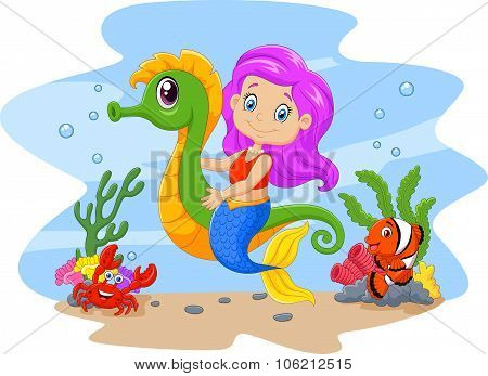 Cartoon cute mermaid riding seahorse accompanied by fish and crab