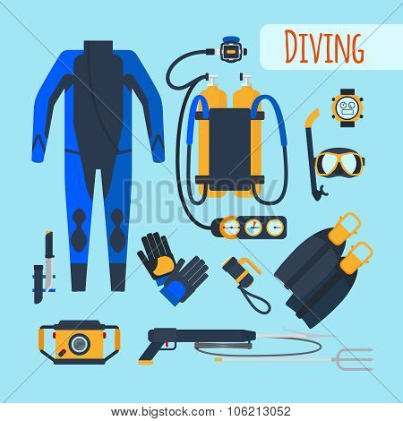 Diving equipment icons