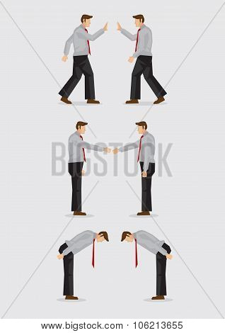 Three Ways Of Greeting Gestures Vector Illustration