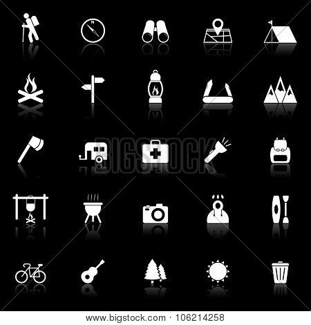 Trekking Icons With Reflect On Black Background