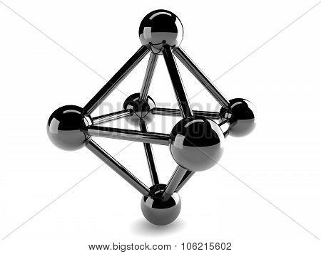 Close-up Metallic Model Of Molecule