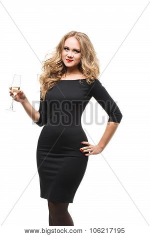 beautiful glamorous girl with red lips in smart black dress  a glass of champagne isolated on white