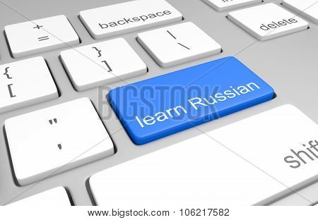 Learn Russian key on a computer keyboard for online classes on speaking, reading, and writing the la