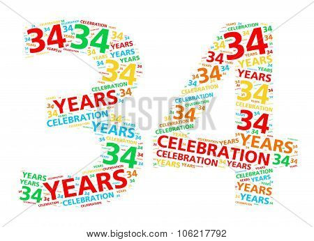 Colorful word cloud for celebrating a 34 year birthday or anniversary