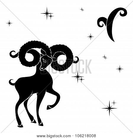 Black Silhouette Of  Aries Are On  White Background.