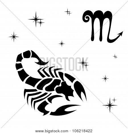 Black Silhouette Of  Scorpio Are On  White Background.