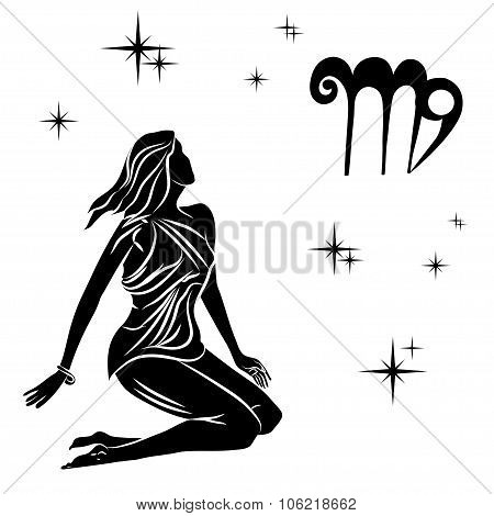 Black Silhouette Of  Virgo Are On  White Background.