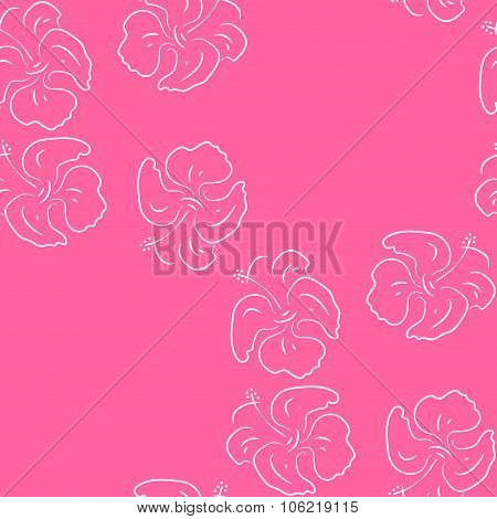 Seamless pattern of hibiscus flowers. Pink floral Art
