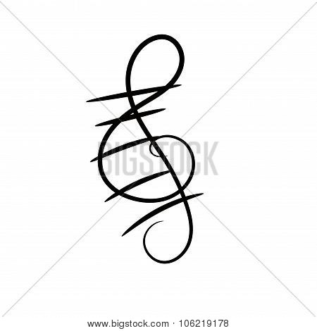 Treble clef decorative painted on a white background. Musical vector design