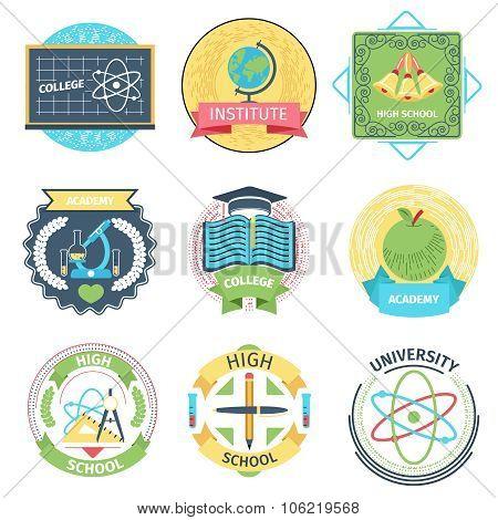 Color retro high school, university and academy logos set