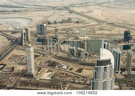 Downtown Dubai. Skyscrapers and road
