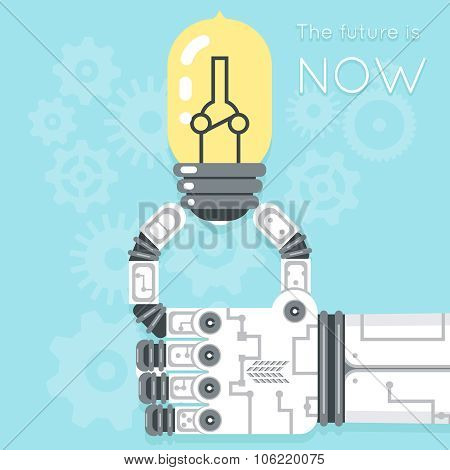 Future is now. Robot hand holding light bulb