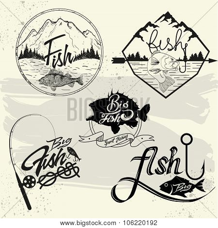 Vector set of fishing club labels, design elements, emblems, badges. Isolated logo illustration in v