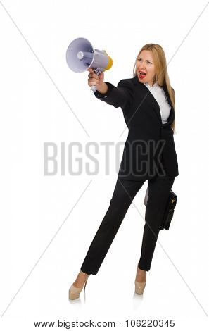 Woman shouting through loudspeaker isolated on white