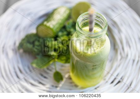 Homemade juice from fresh fruit and vegetable