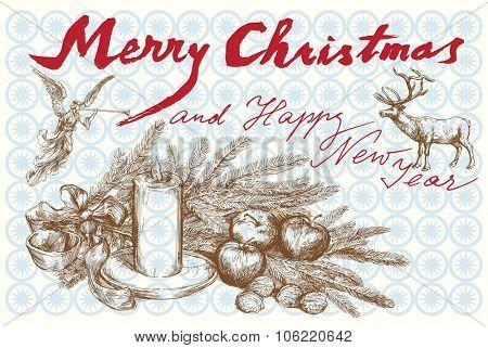 Hand drawn vintage Christmas card
