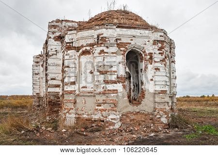 Broken church in Romanovo village. Tyumen region