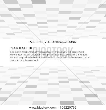 Empty white space background with perspective tiled floor