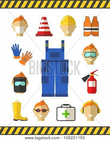 Safety at work. Job safety flat icons. Protective equipment