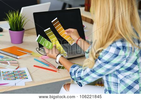 Hands Of Female Designer In Office
