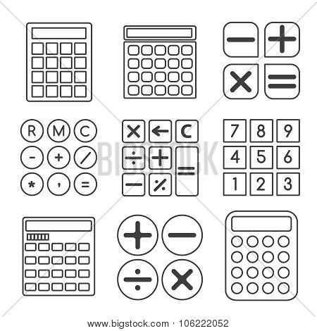 Calculator vector linear or outline icons set