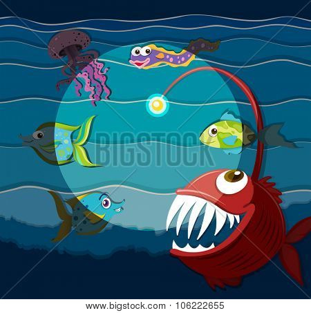 Ocean scene with sea monsters illustration