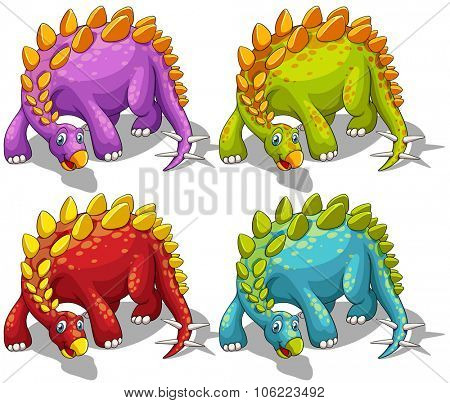 Dinosaurs with spikes tail illustration